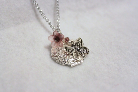 Silver and Pink Butterfly and Flower Locket Neckace
