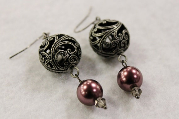 Silver and Plum Purple Dangle Earrings - Silver Swirly Gunmetal Silver Beads with Plum Purple Glass Pearls and Light Grey Swarovski Crystals