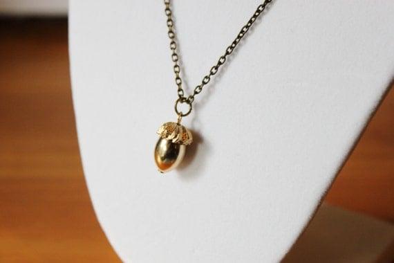 Golden Acorn Necklace - Gold Toned Vintage Antique Acorn Charm hanging on an Antique Bronze Rolo Chain