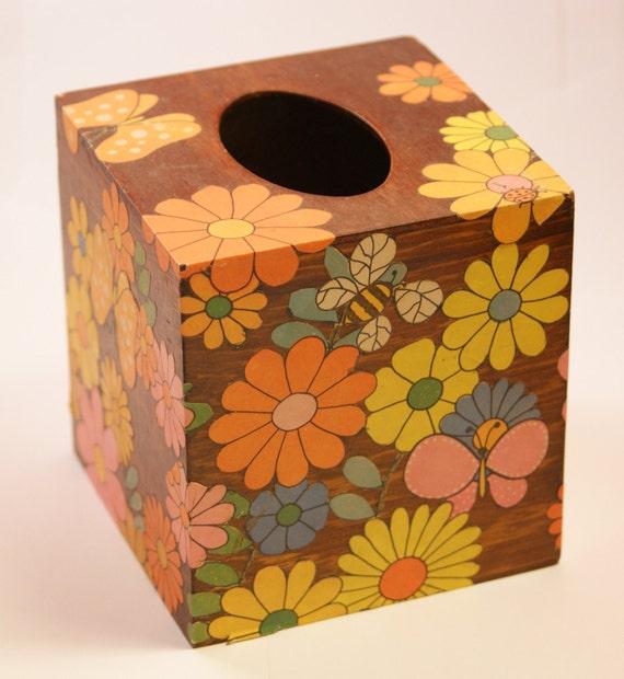 Vintage Tissue Box Cover, 1970s, Handmade