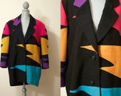 L / XL Vintage 1990s Colorful Neon Coat / Heavy Jacket / Outerwear