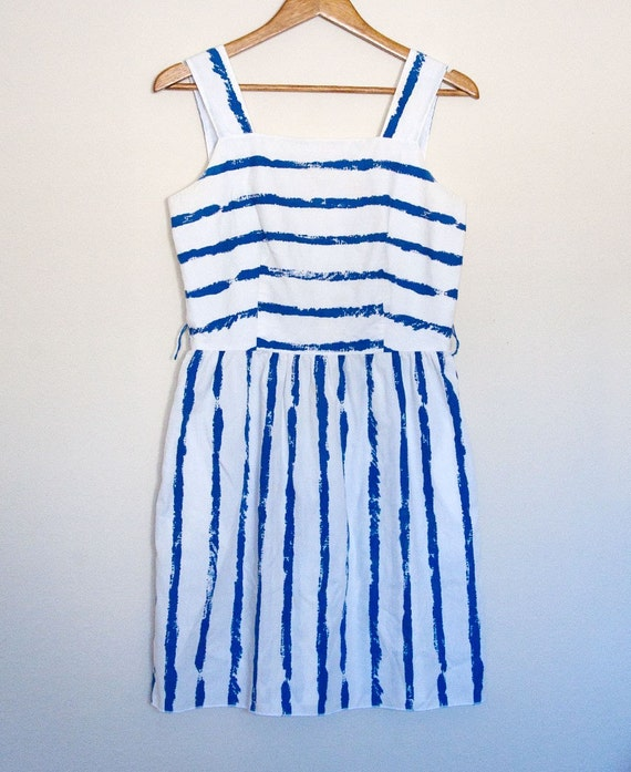 M / L Vintage Blue and White Cotton Striped Dress