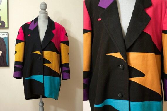 L / XL Vintage 1990s Colorful Neon Coat / Heavy Jacket / Outerwear