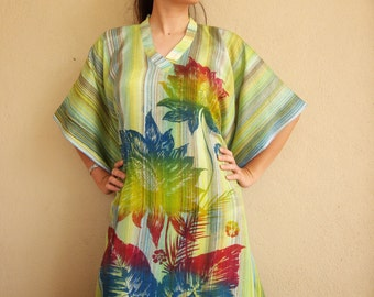 Greeny Stripes with Floral, Hand Drawn Batik Kaftan