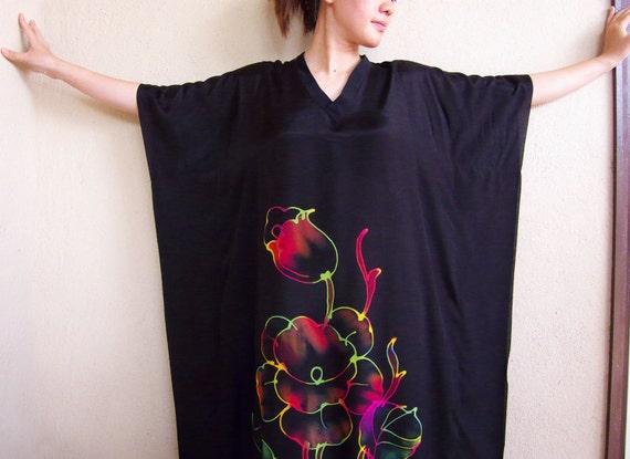 Black with Colorful Floral, Hand Drawn Batik Kaftan