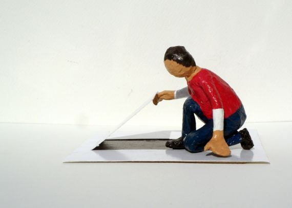 Curious Boy - Original Paper Sculpture