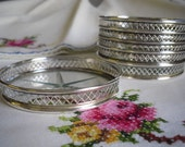 Reserve for Hannah Set of 6 Sterling and Glass Coasters by Webster