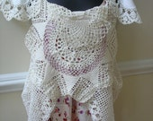Romantic One of a Kind Vintage Crochet Lace Doily Tunic Top