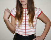 Red and White Stripey Breton Top with zip