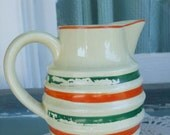 Vintage Stoneware Milk Jug Creamy Yellow with Green and Orange Stripes