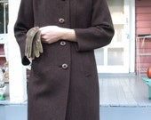 Winter Coat Vintage Brown Tweed Coat Wool Shagmoor Coat Tweed Brown and Black  Mink Collar Vintage SALE 50% off