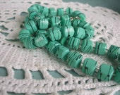 Bead Necklace 1980s Seafoam Green Square Beads