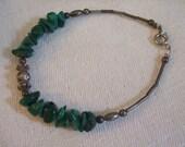 Bracelet Beaded Silver Malachite Bracelet SALE