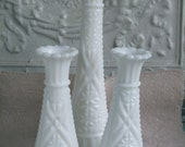 Milk Glass Vases Set of Three Bud Vase