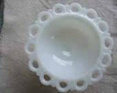Milk Glass Footed Compote Lace Edge