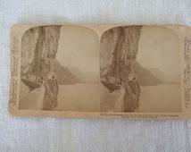 Lake Lucerne Switzerland 34 Axenstrasse Stereoscope Card 1897 New York Underwood and Underwood