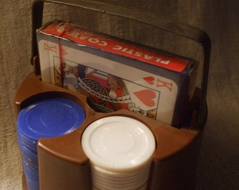 Poker Chips, Rack, and Playing Cards Vintage