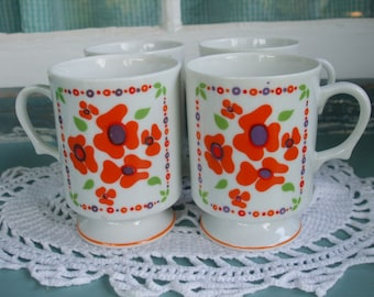 Mugs Flower Power Footed Mugs Set of 4 Vintage Orange