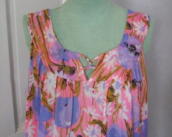 Floral Chiffon Robe and Nightgown Vera Neumann Poppies and Daisies SALE 25% OFF