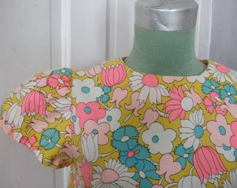 Girl's Dress Floral Sunshiny Vintage Handmade