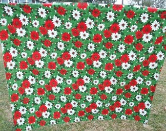 Poinsettia Tablecloth Vintage Christmas Red Green