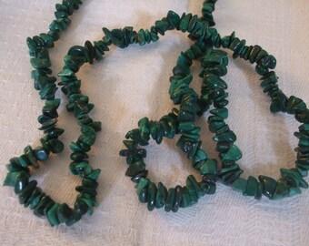 Malachite Necklace Vintage Malachite Chip 32 inch Necklace SALE