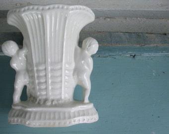White Cherub Vase Planter