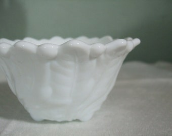 "Milk Glass Bowl Wild Rose 4""  Indiana Glass"