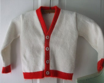 Cardigan White Red Trim Boy Girl Toddler Size 2