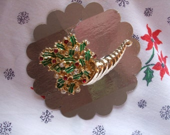 Christmas Brooch Cornucopia Holly and Berries Brooch Gold Green and Red