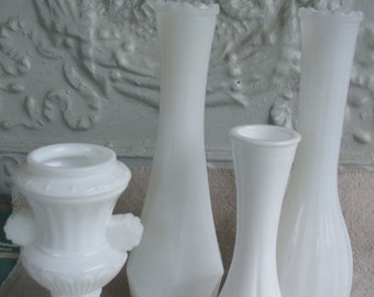 Milk Glass Instant Collection Bud Vases