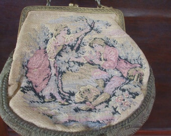 Brocade Handbag Turn of the Century French Country Scene Free Shipping