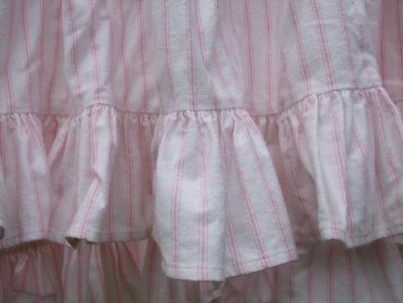 Dust Ruffle Pink Ticking Stripe Queen Size Flannel Ralph
