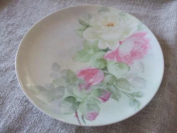 Cabbage Roses Plate Vintage Haviland France Hand-painted