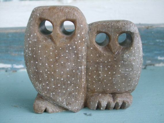 Owls Hand Carved Stone