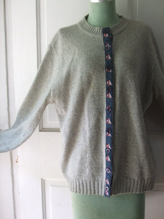 Gray  Wool blend Cardigan with Sailboat Ribbon Placket