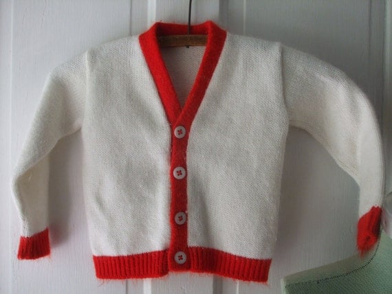 Cardigan White Red Trim Boy Girl Toddler Size 2
