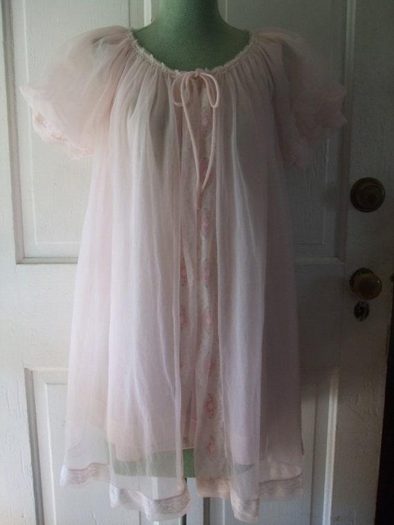 Baby Doll Nightie and Robe Pale Pink Chiffon