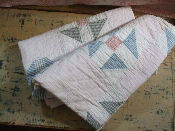 Quilt Churn Dash Pastel Pink 1930s Quilt Nine Patch Variation