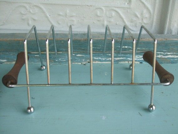 Danish Modern Toast Rack Mail Holder Chrome Teak