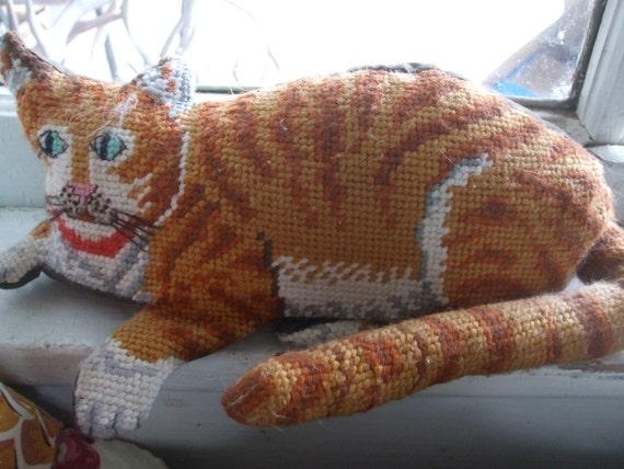 Tabby Cat Pillow Needlepoint Shelf Sitter