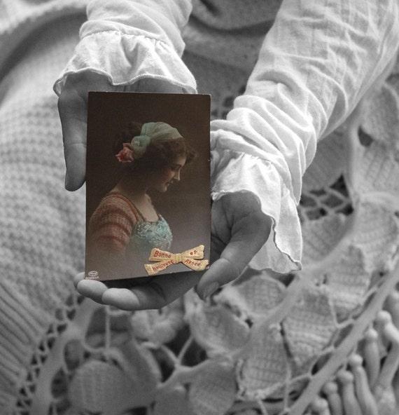 French Postcard. vintage french ephemera. vintage postcard. french woman portrait.