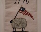Hand Painted Muslin Ditty Bag Drawstring Primitive Folk Art Americana Sheep Flag 1776