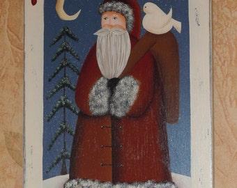 Hand Painted Primitive Folk Art Santa with Dove, Tree, Moon Plaque