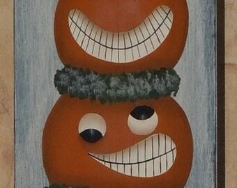 Hand Painted Primitive Folk Art Halloween Pumpkin Crow Picket