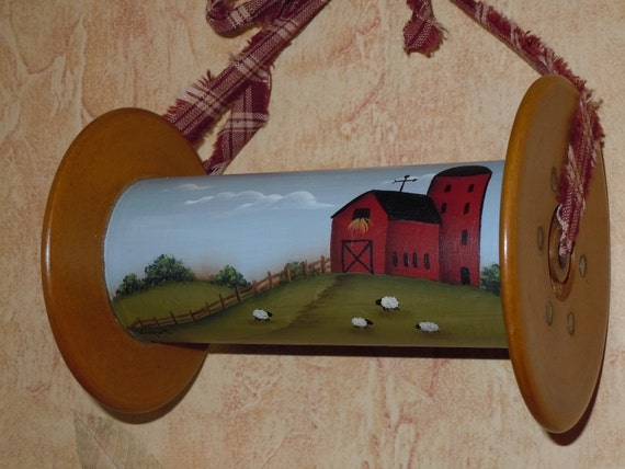 Antique Bobbin Hand Painted with Farm Sheep by CoveredBridgePrim
