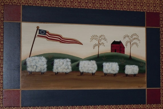 Primitive Folk Art Sheep Flag Americana Old Glory With House