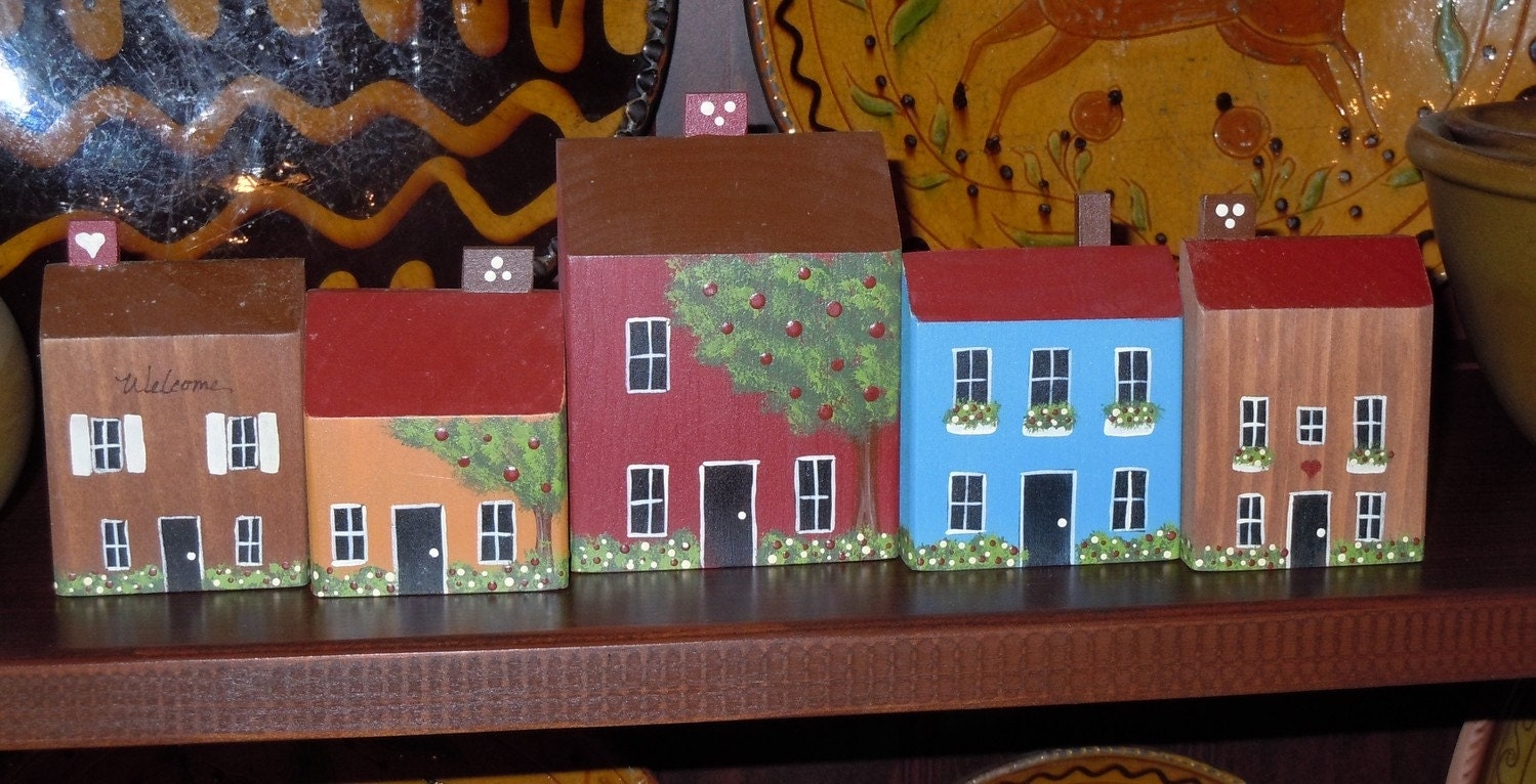 20 Off Hand Painted Primitive Folk Art Wooden Houses