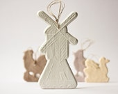 Primitive Windmill Ornament - porcelain Easter ornament from Old World Europe - Holland Dutch Windmill