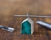 brushed enamel house necklace - green modern rustic clay house 6185